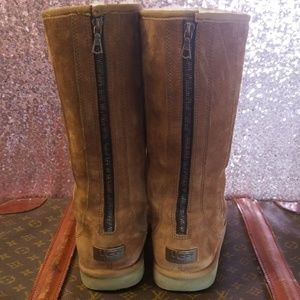 RARE! UGG 'Greenfield' Tall Chestnut Zip up Boots